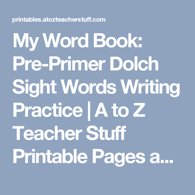 My Word Book: Pre-Primer Dolch Sight Words Writing Practice | A to Z ...