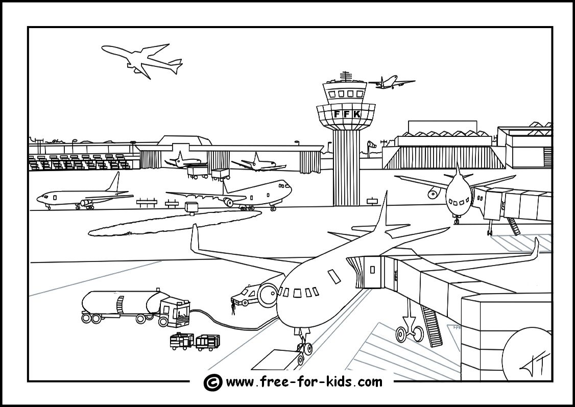 Airport colouring page thumbnail image thema vliegveld for Airplane coloring pages to print for free
