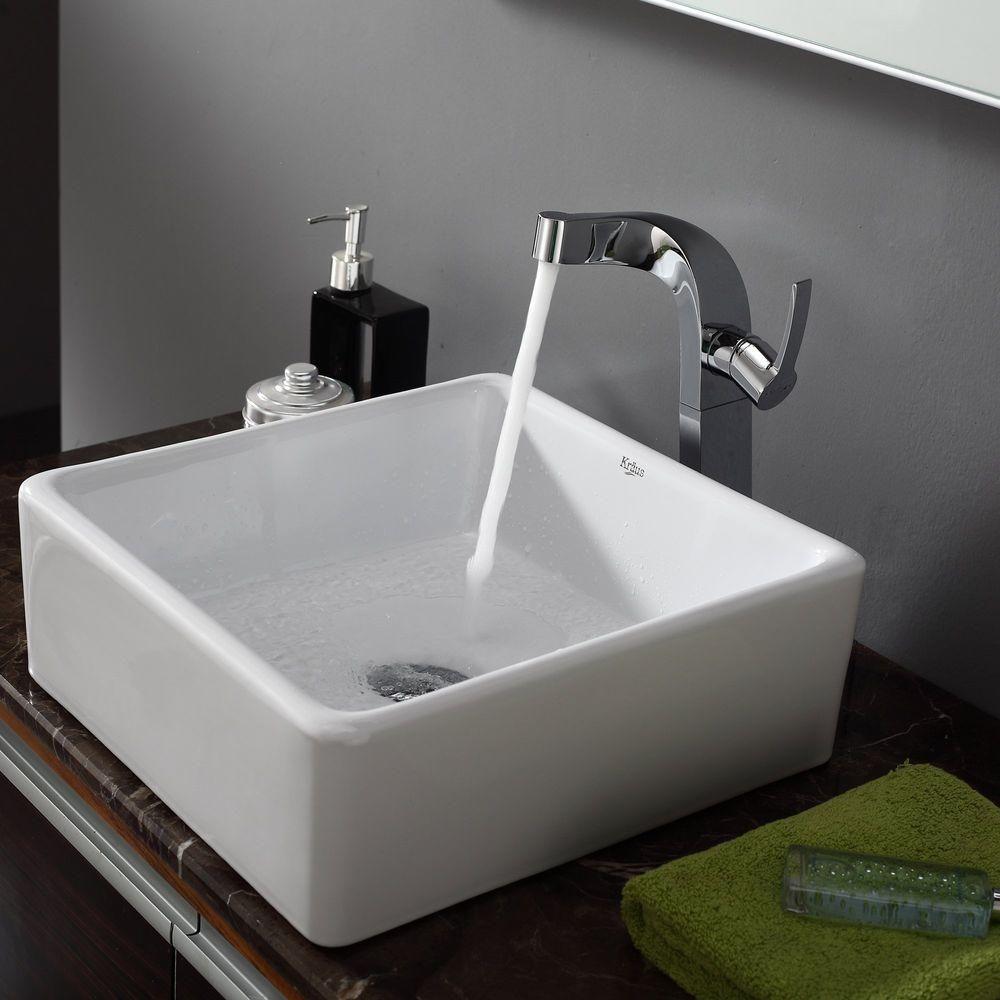 Kraus Square Ceramic Vessel Bathroom Sink In White Kcv 120