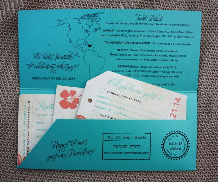 Turquoise  Coral Swirls, Hibiscus  Palms Antique Airline Ticket