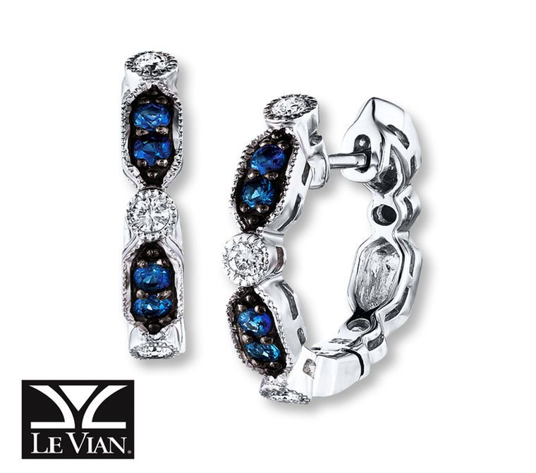 Jared Le Vian Sapphire Earrings 16 ct tw Diamonds 14K Vanilla