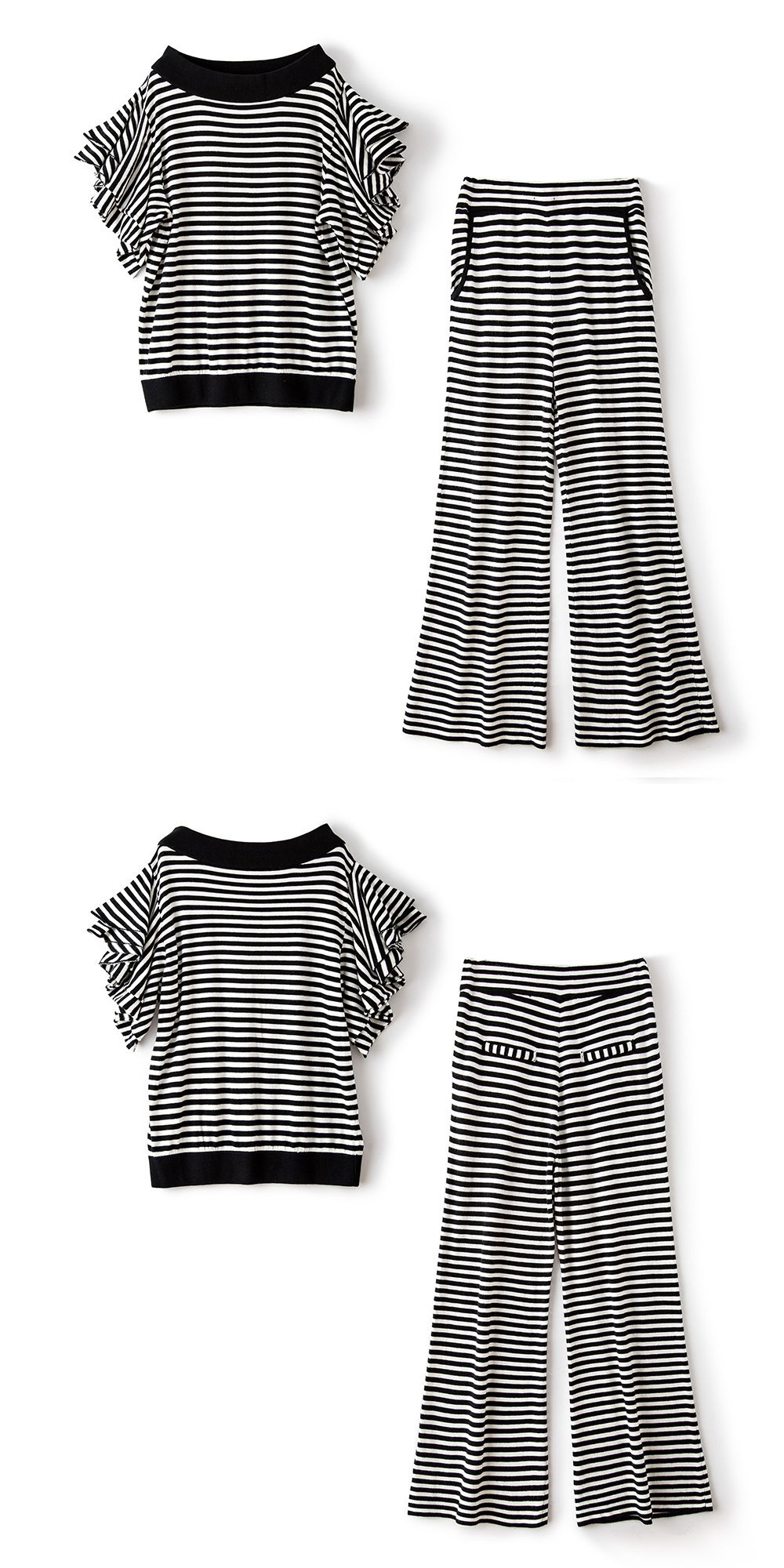 0ac7198b592 High quality elastic knit striped loose plus size t-shirt and wide leg full  length