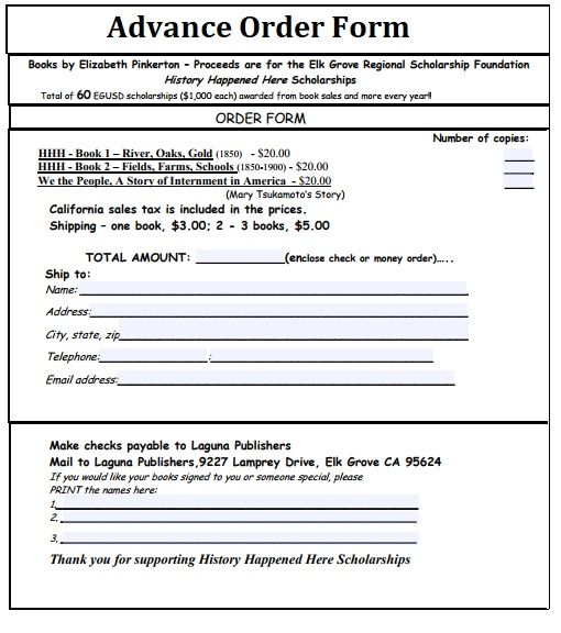 2+ Advance Order Forms Free Printable Word, Excel  PDF