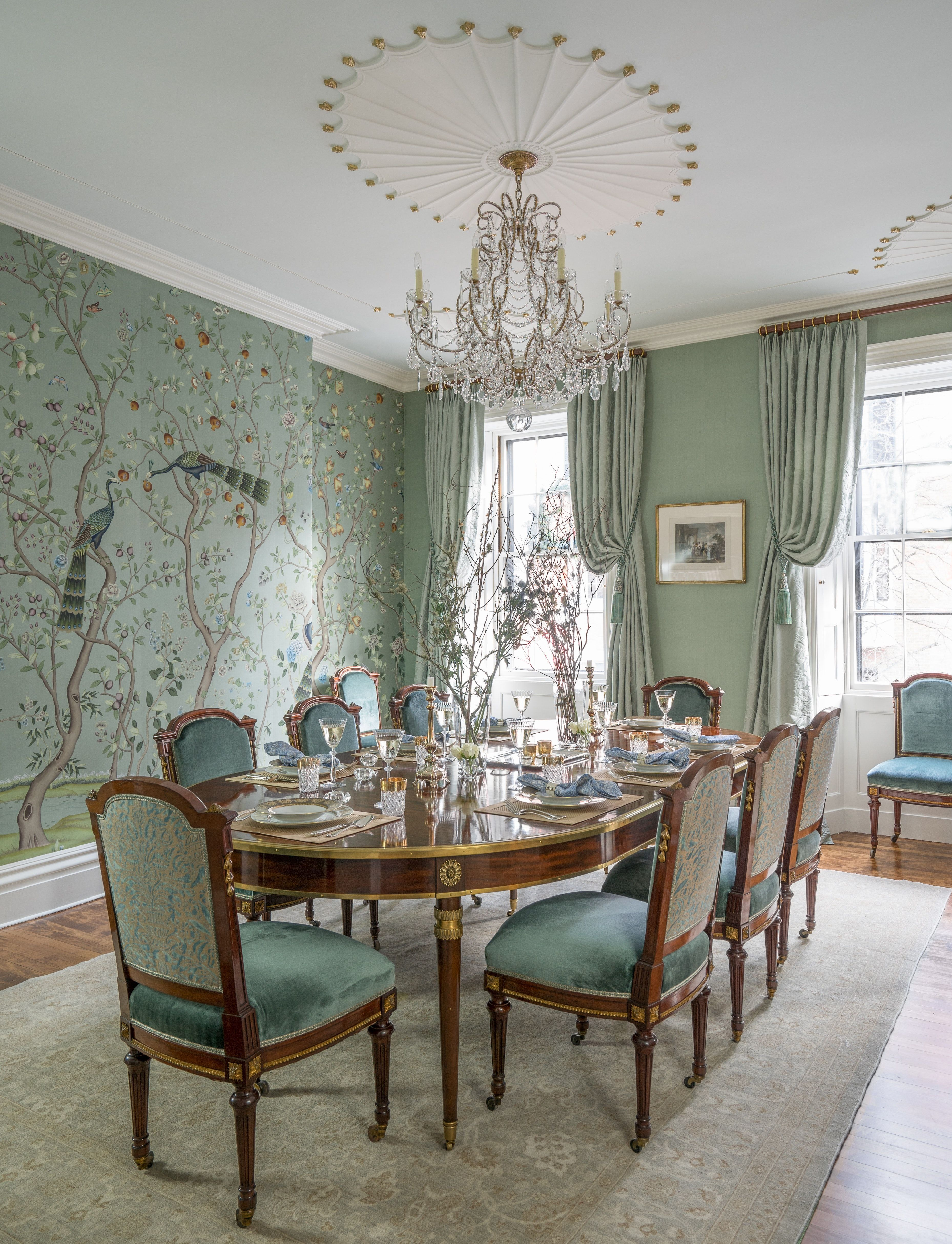 Beacon Hill Dining Room With Handpainted Silk Wallpaper And Louis