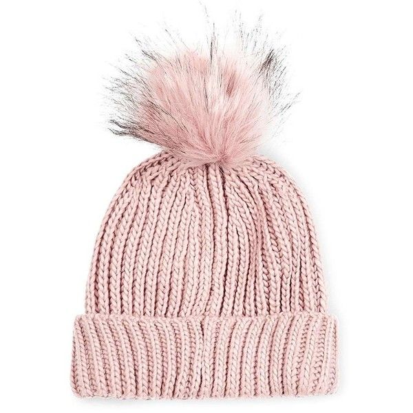 Women's Topshop Tipped Faux Fur Pom Beanie (77.690 COP) ❤ liked on Polyvore featuring accessories, hats, nude, brimmed beanie, pom pom hat, topshop hats, beanie cap hat and brimmed beanie hats