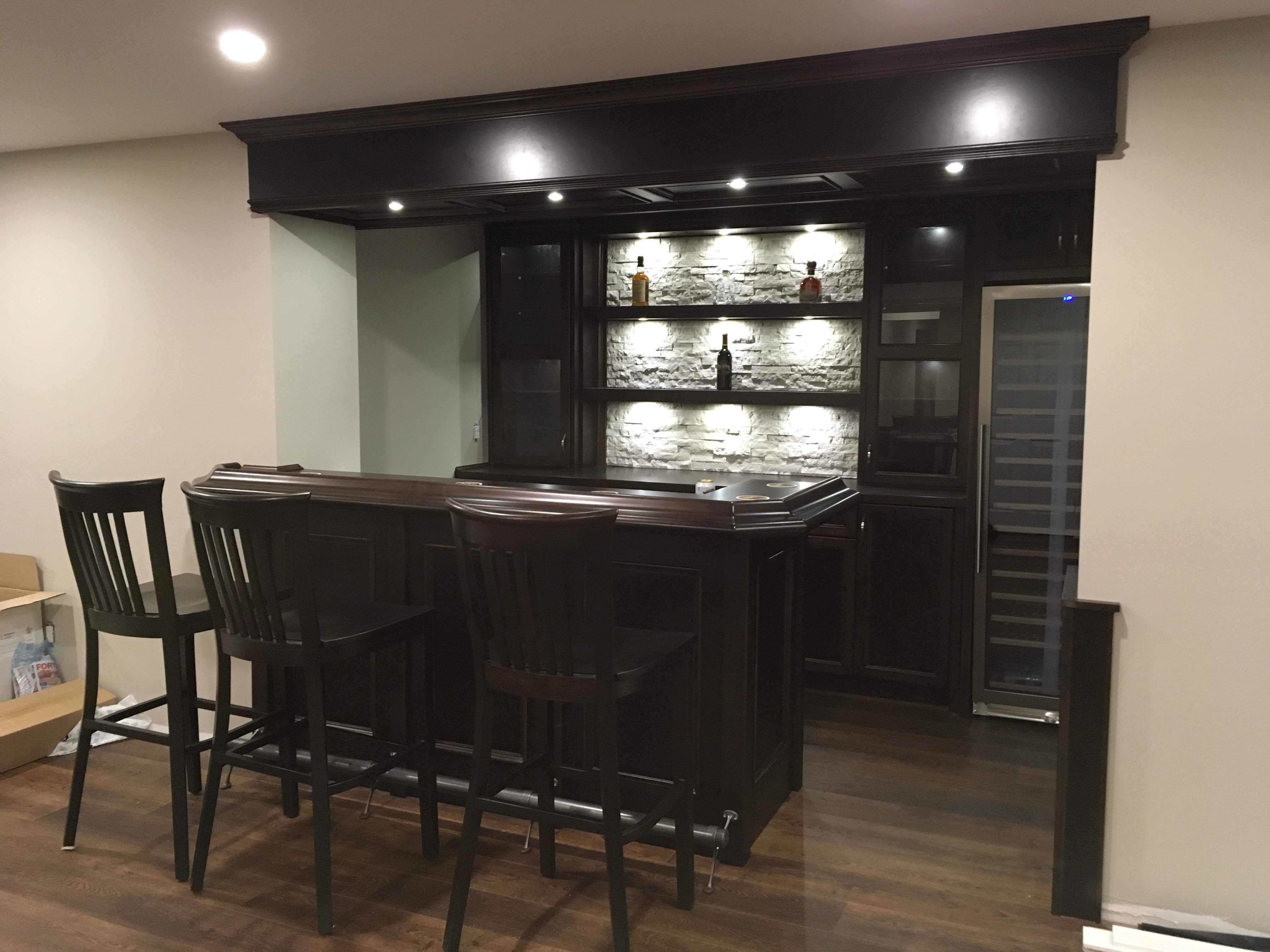 Custom Home Bar With Stone Accents Rgb Lighting And A Gorgeous Wine