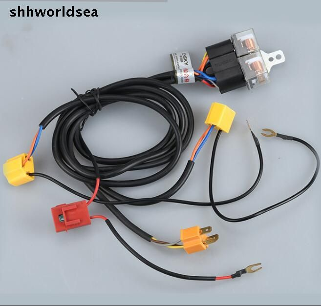shhworldsea Universal H4/9003 Headlight Booster Wire Cable Harness ...