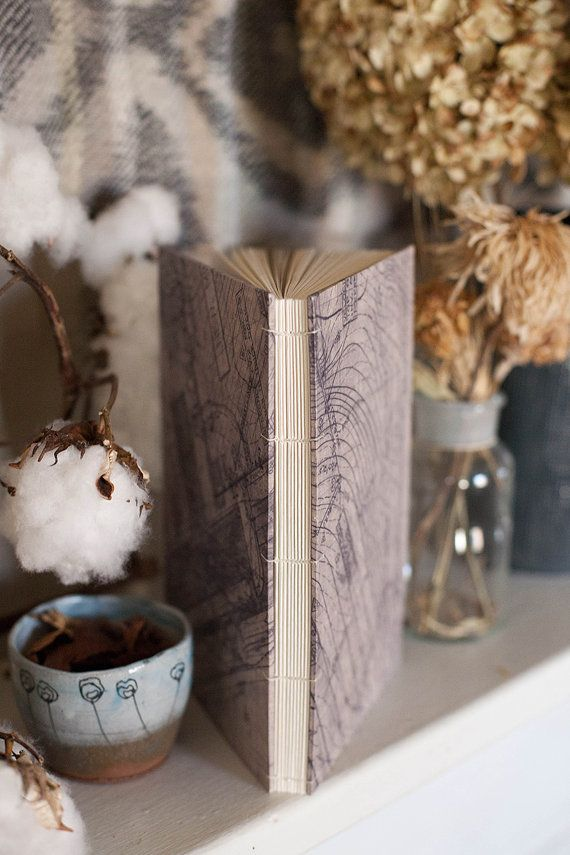 Hardcover Coptic Stitch Handmade Bound Journal. Blueprint Cover. Blank Inside Pages. on Etsy, $38.00