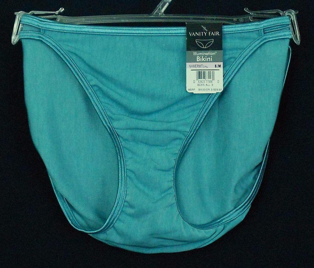 Vanity Fair Illumination Bikini Panties Green Size 6 M Nylon Solid String  Sides - These Womens