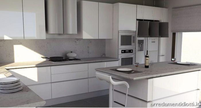 Cucina con gola laccata bianca idea diotti a f - Cucina laccata bianca ...