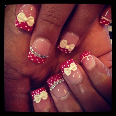 Cute Polka Dots With 3d Bows Nail Art Gallery By Nails Magazine