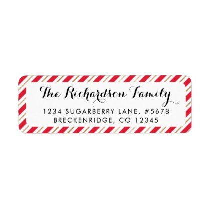Candy Cane Stripes Red/Gold Return Address Label - holiday card diy