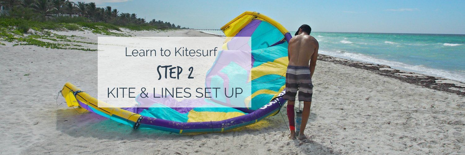 Pump the kite & Connect the lines. Things you will learn the first day of your kitesurfing course.  http://www.mexicancaribbeankitesurf.com/how-to-set-up-the-kite