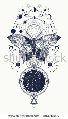 85466f5004a93 Butterfly tattoo in geometrical style. Beautiful butterfly boho t-shirt  design, wings and roses, Esoteric symbol of freedom, magic, travel. Tattoo  for woman ...