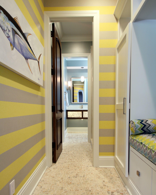 Neon Yellow/Green Horizontal Stripe Wallpaper | Schulte Design ...