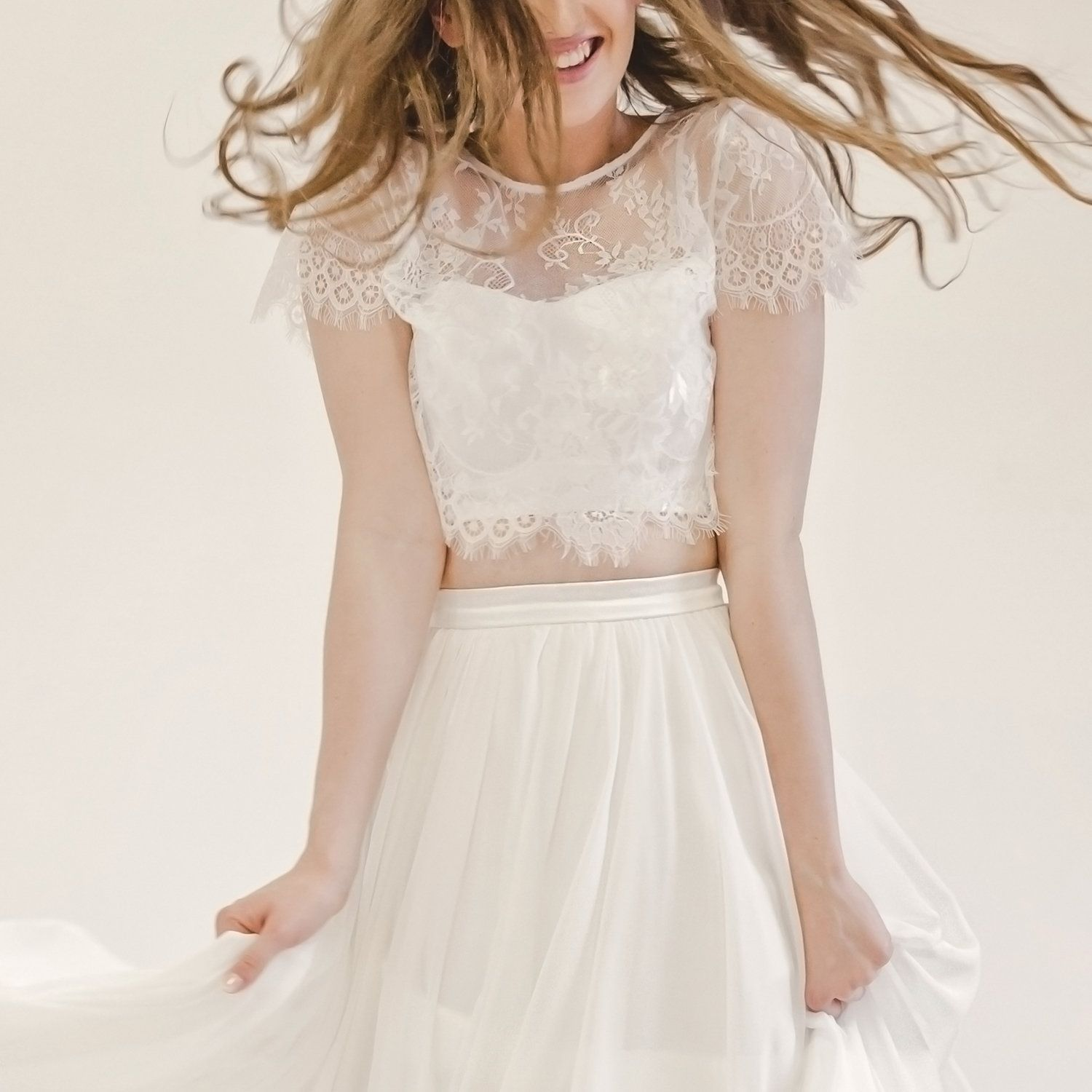 Emily lace crop top and chiffon skirt three piece