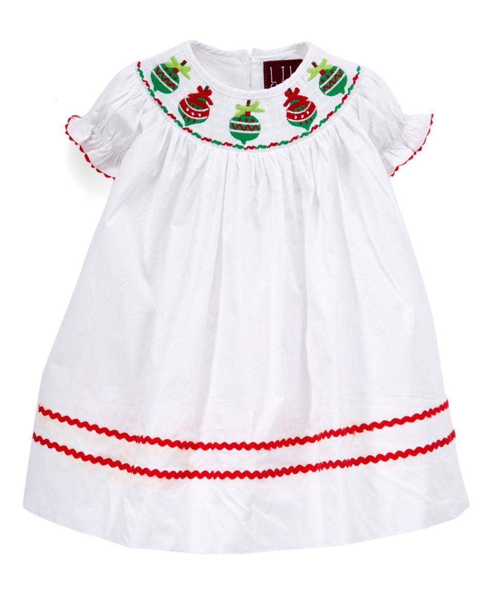 Take a look at this Lil Cactus | White Ornament Smocked Bishop Dress ...