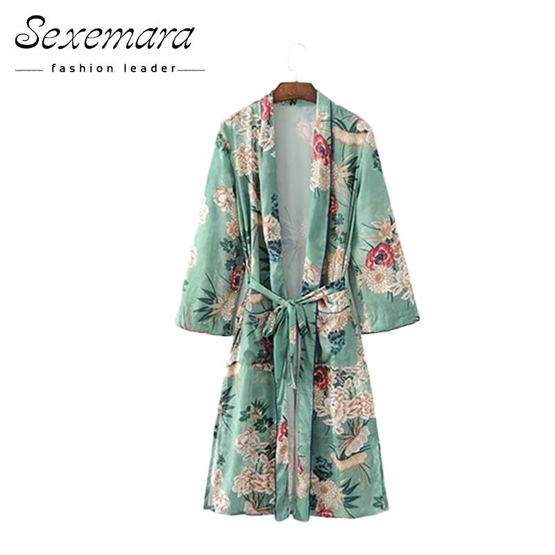 Women's Clothing Nice 2017 Leaves Flower Print With Sashes Kimono Shirt Retro New Bandage Mid Long Cardigan Blouse Tops Blusas Chemise Femme Blusa
