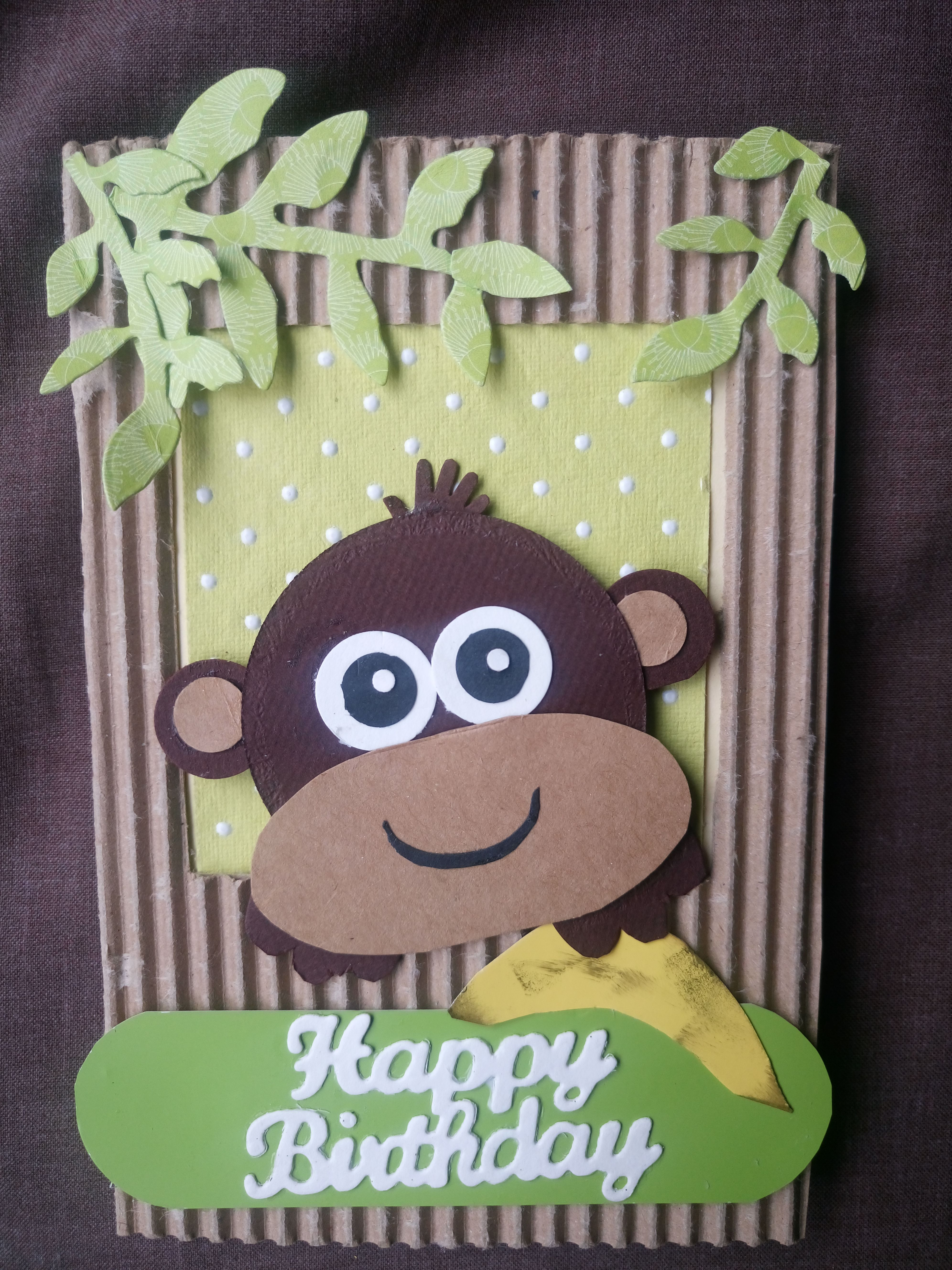 Monkey With Banana Birthday Card Handmade With Recycled Papers By Michelle Walker Kids Birthday Cards Handmade Birthday Cards Card Making