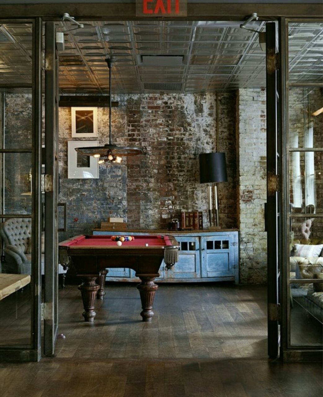 Interiors Pool table industrial loft space