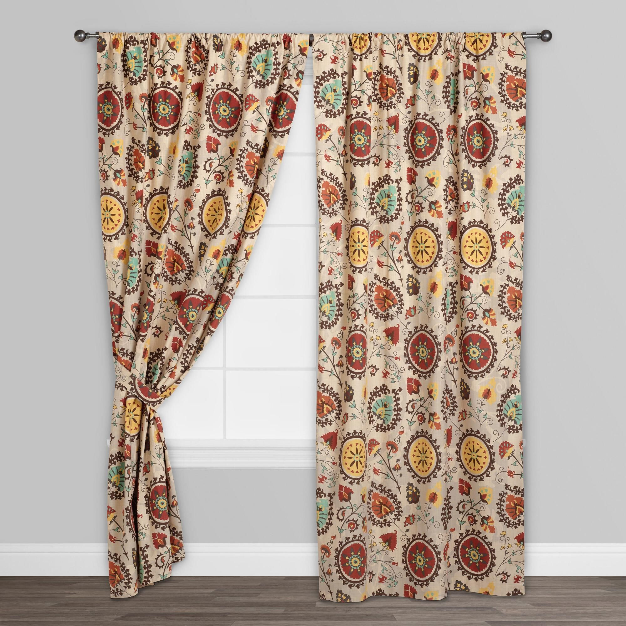 Suzani Prints Are Known For Their Intriguing And Intricate Design A Staple In Central Asia Making Our Gold Printed Curtains Colorful Curtains Floral Curtains