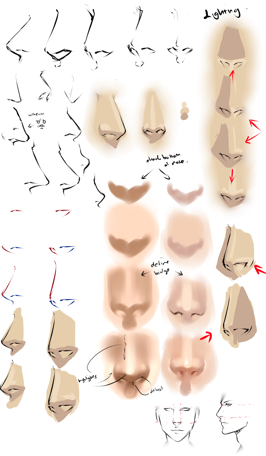 male anime nose front view google search drawing art references