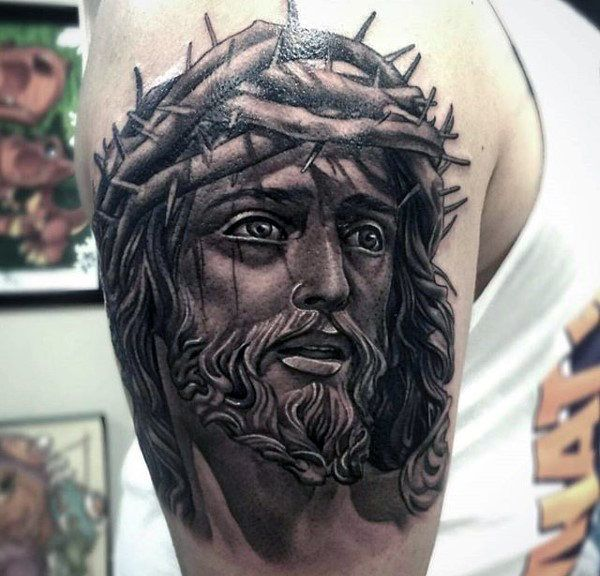 100 jesus tattoos for men cool savior ink design ideas tattoo pinterest upper arm. Black Bedroom Furniture Sets. Home Design Ideas