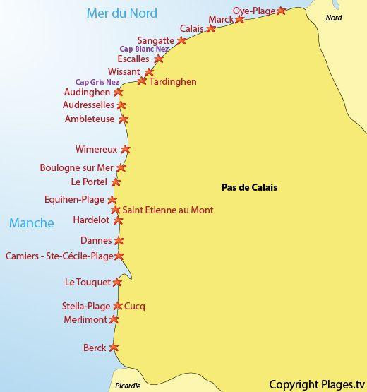 Carte des plages et des stations balnéaires du Pas de ...