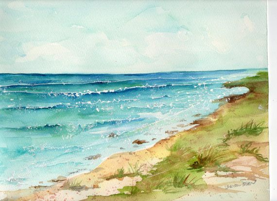 Aruba Original Watercolor Painting Ocean Art By Sharonfosterart