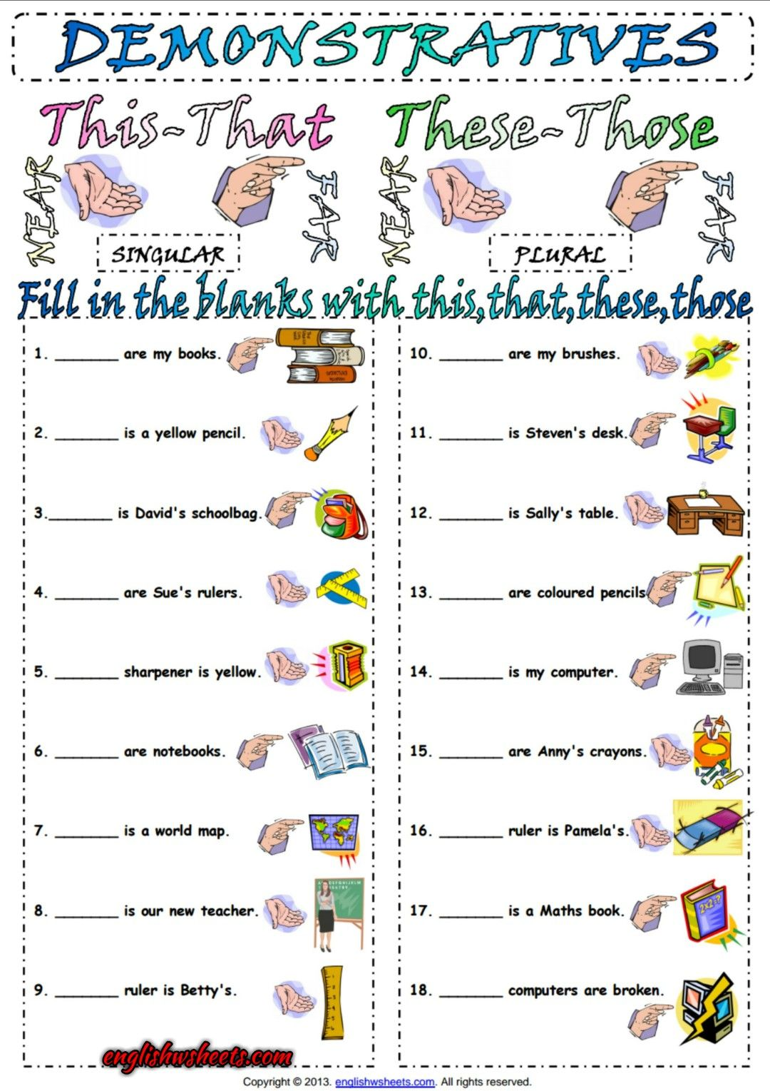 Demonstrative Pronouns ESL Exercise Worksheet | Esl ...