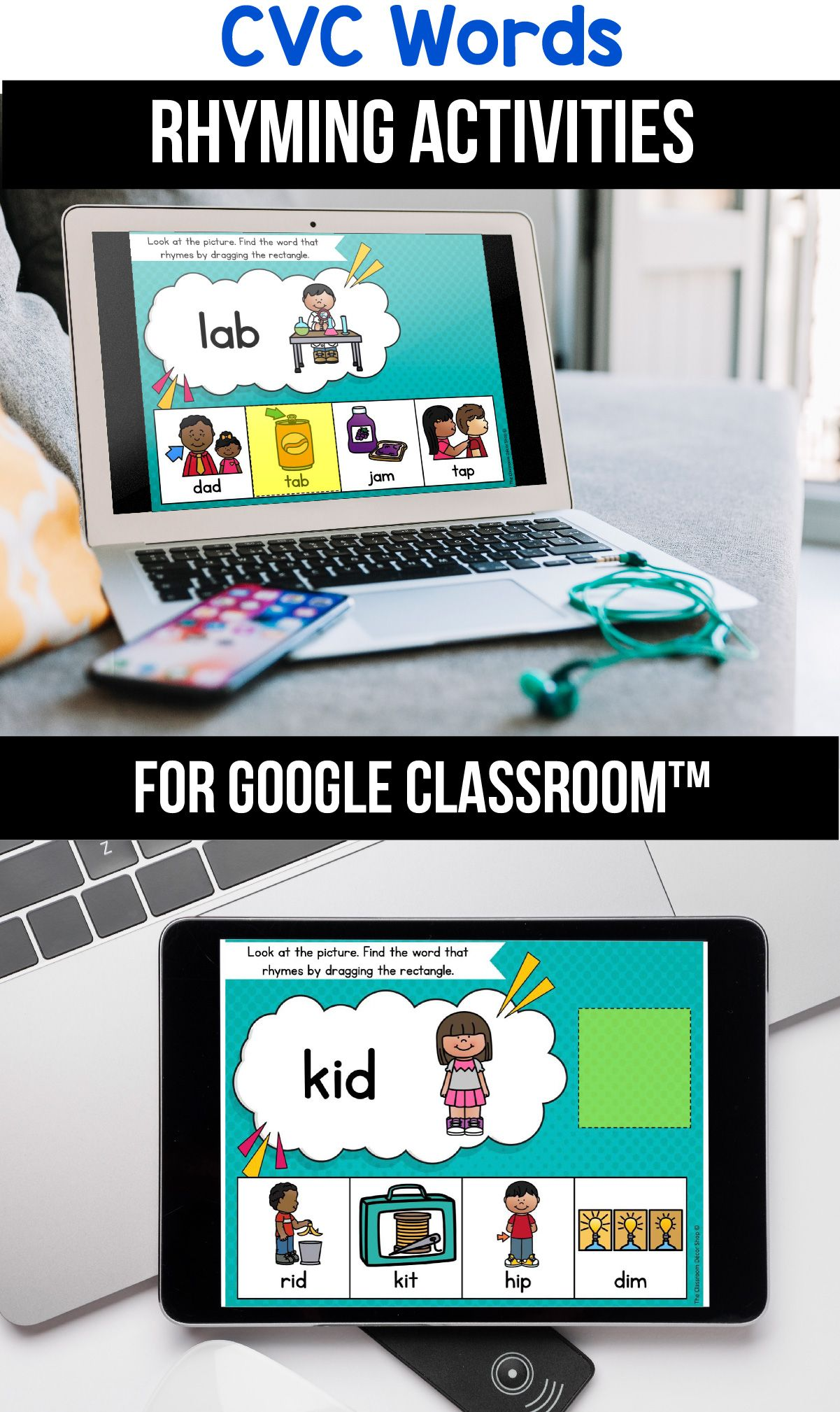 Classroom Cvc Rhyming Worksheets Digital Learning