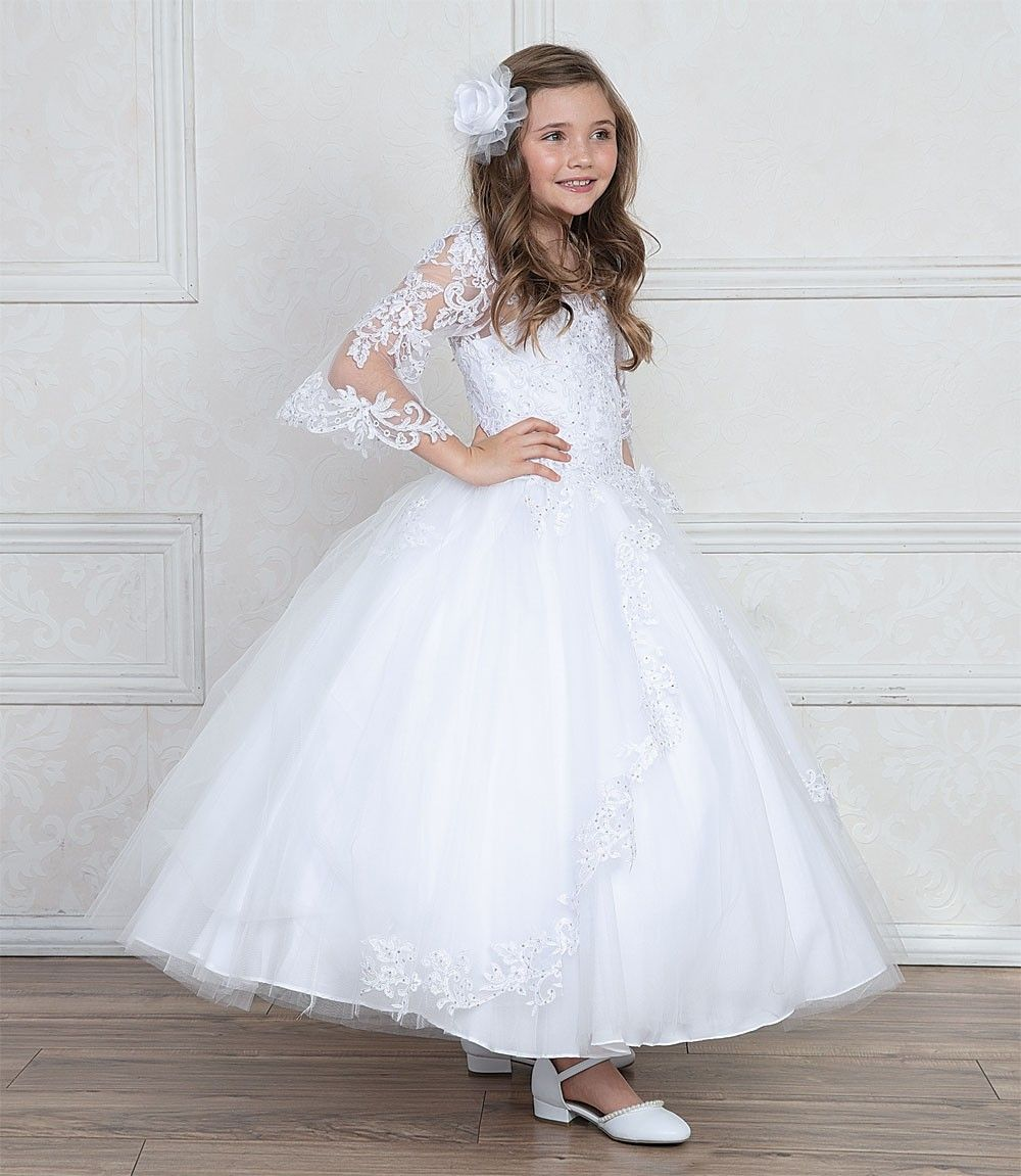 This First Communion Gown Features Sheer Organza Bell Sleeves Accented With Beading And Lace First Communion Dresses Communion Dresses Girls Communion Dresses [ 1151 x 1000 Pixel ]