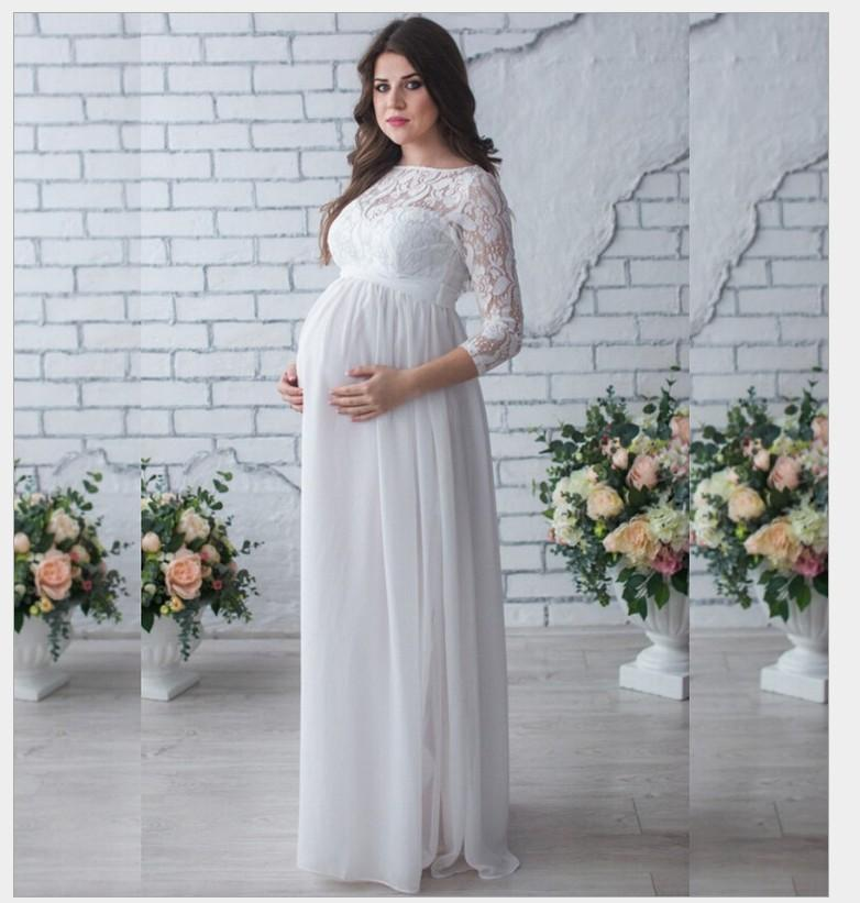 b141809eaded1 Maternity Chiffon Dresses Pregnant Women Lace Evening Dress Pregnancy Gown  Dress