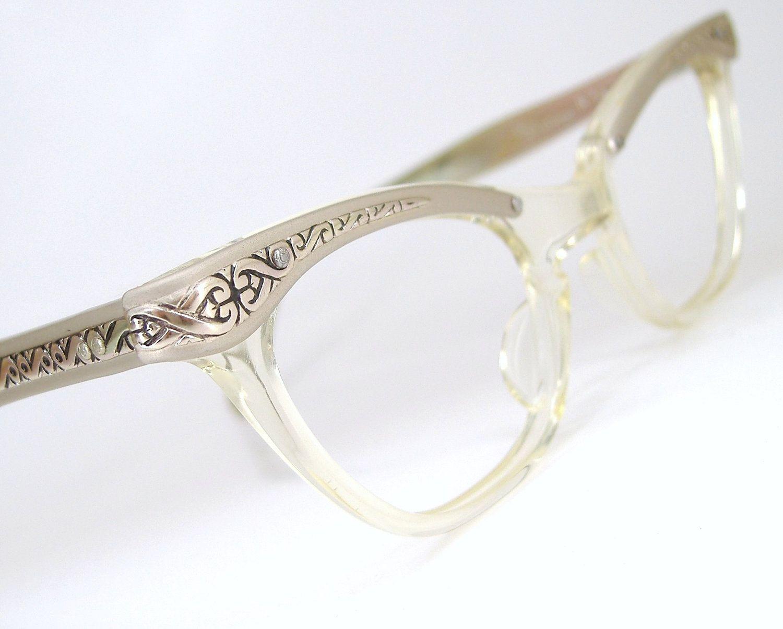 Vintage 50s Glasses Cat Eye Eyeglasses Frame Filigree Never Worn ...