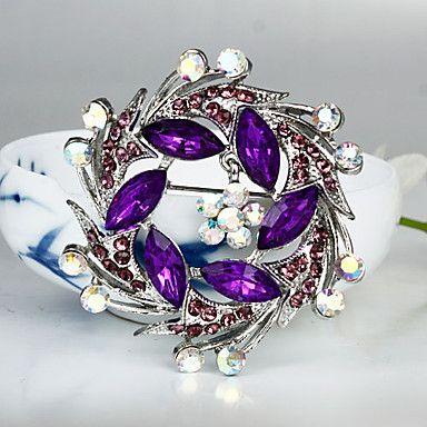 Women's Fashion Purple Crystal Silver Plated Brooch – USD $ 4.99