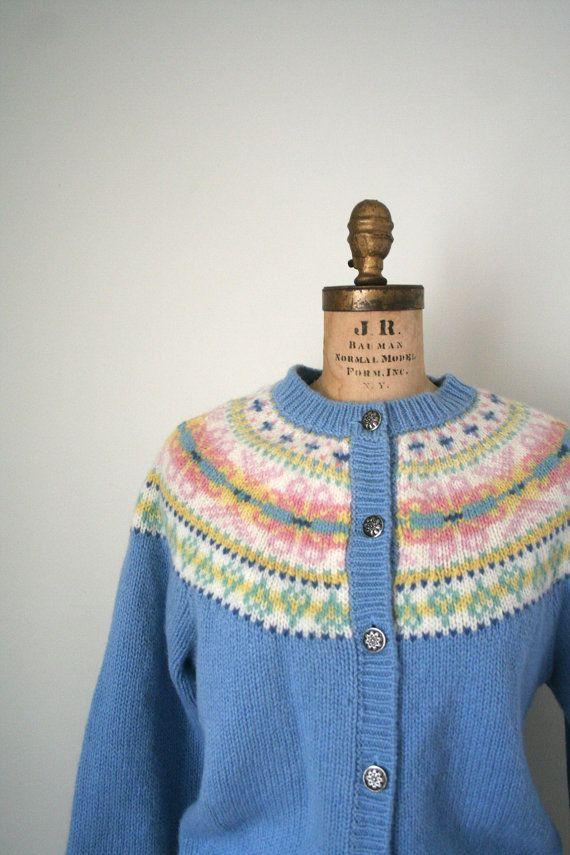 vintage cardigan sweater FAIR ISLE 1980\u0027s preppy