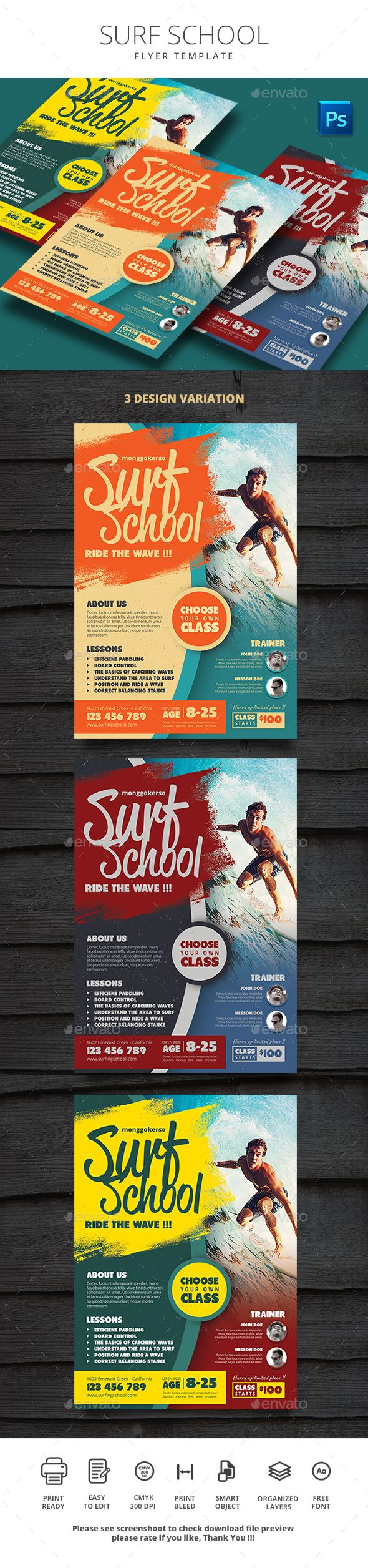 Surf School  School Sports Surf And Flyer Template