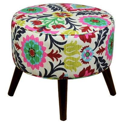 Riverplace Round Mid Century Ottoman Teal Project 62