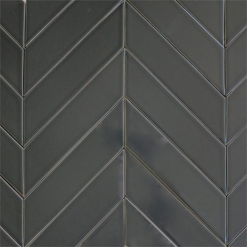 Modwalls Usa Made 2x8 Ceramic Subway Tile In Gray Color Carbon Also Look At The Striped Chevron Pattern