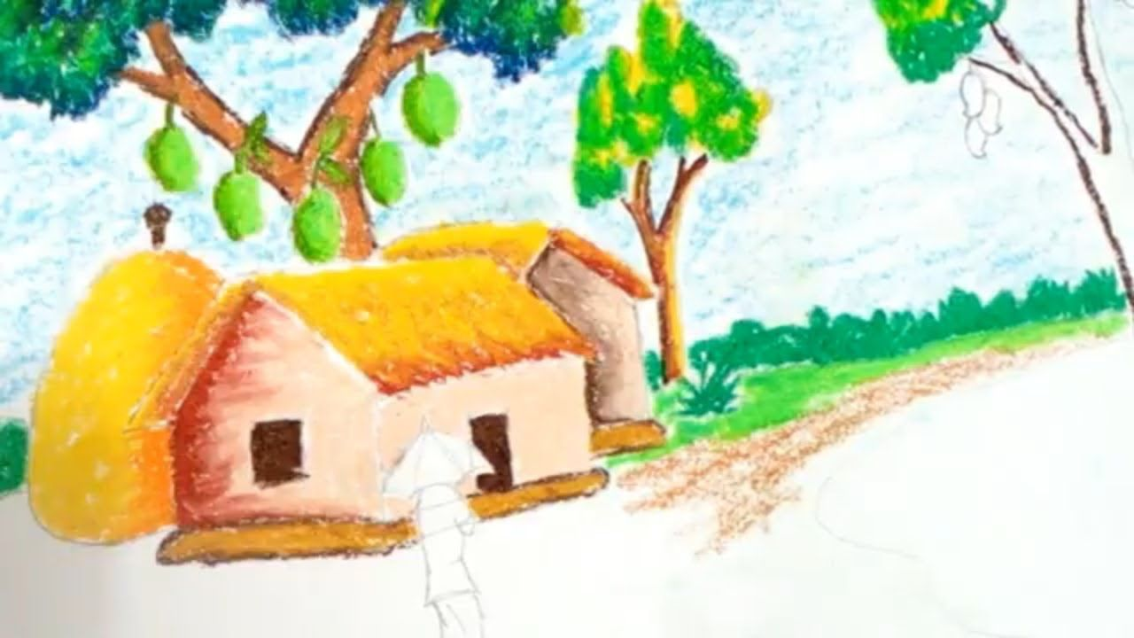 How To Draw Summer Season Easy With Oil Pastels Summer Season Drawing Oil Pastel Easy Drawings