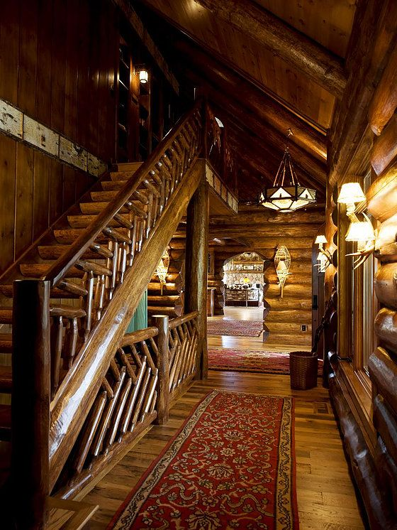 Grand lodge Wisconsin log dual staircase | Interior design ...