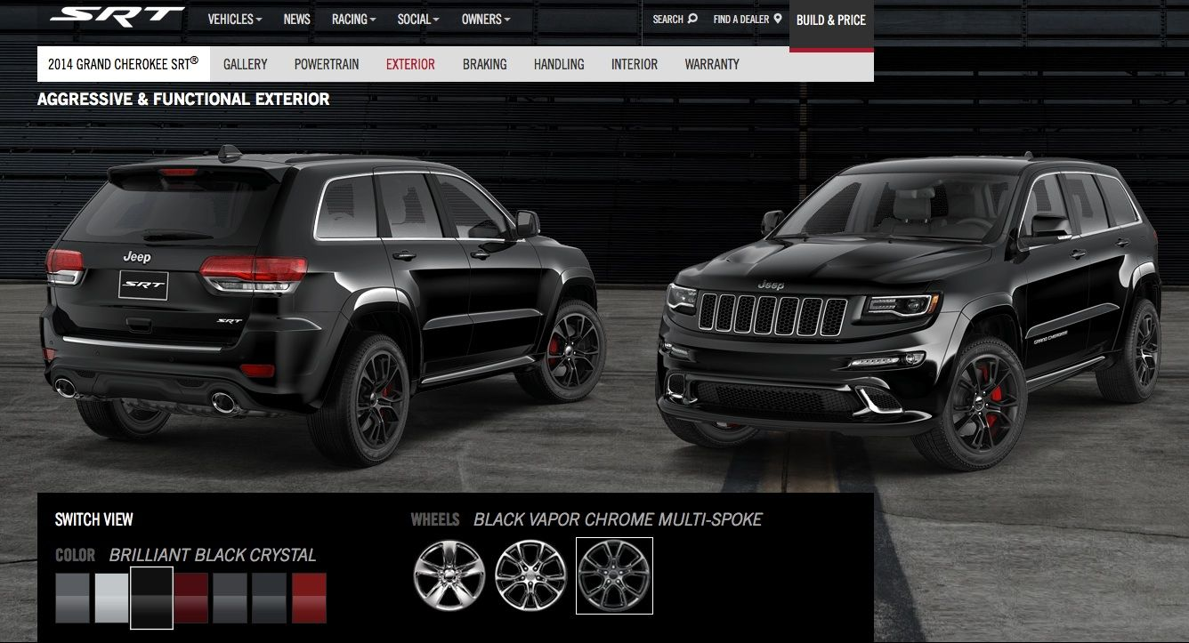 2014 Jeep Grand Cherokee Srt In Brilliant Black Crystal With Black