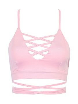 8eaedbc37d046 Shop Pink Lattice Strappy Back Cross Crop Top from choies.com .Free  shipping Worldwide. 12.9