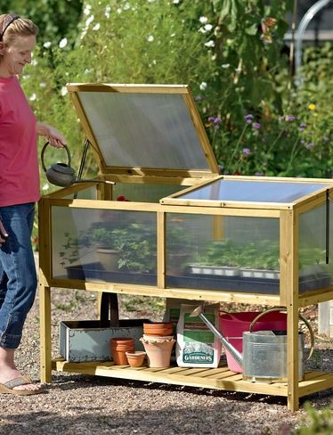 Nifty little #greenhouse workbench. I'll plan something ...