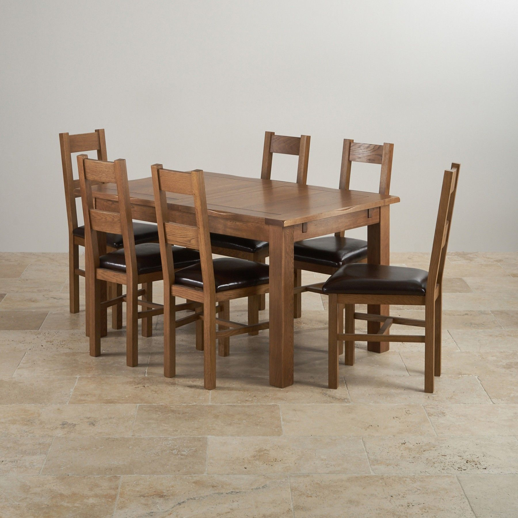 Rushmere Rustic Solid Oak Dining Set 4ft 7 Extending Table With