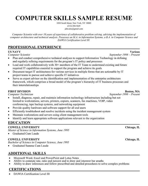 Sample Of Resume Skills Bold Idea Resume Computer Skills 7 Examples   CV  Resume Ideas