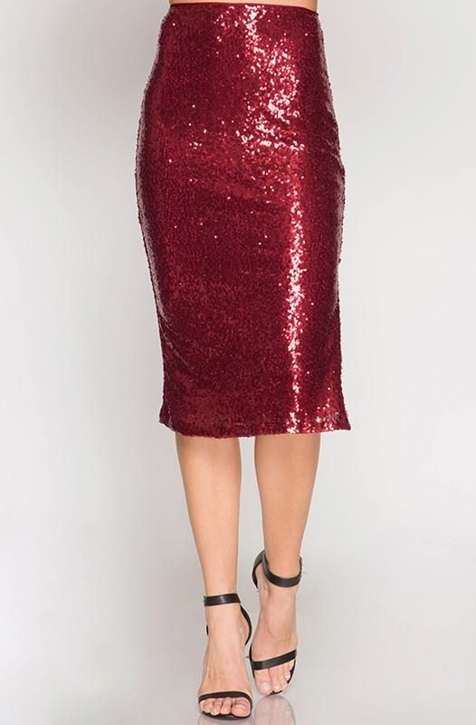 3f0ae0abf Be bold in this fiery red sequin skirt! Fitted midi pencil skirt has a side  split and exposed back zipper. Be party ready with a velvet top and heels  or ...