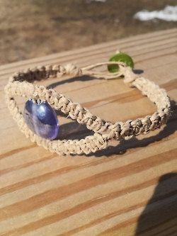 Handmade Natural Hemp Eye Bracelet Purple Glass by TheOstaraGypsy  #Handmade #Macrame #Bracelet #MacrameJewelry #EtsyArtist