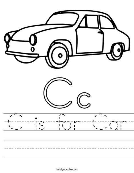 Car Coloring Pages For Kindergarten : C is for car worksheet twisty noodle preschool