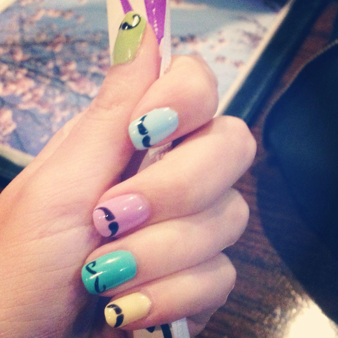 Mustache Manicure Gel Nails Design Nailart Nails Pinterest